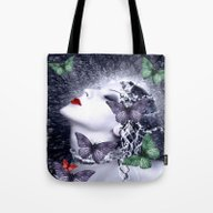 Women And Butterfly Drea… Tote Bag