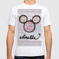 Adorable Mouse Fleur de lis Painting Mens Fitted Tee Ash Grey SMALL