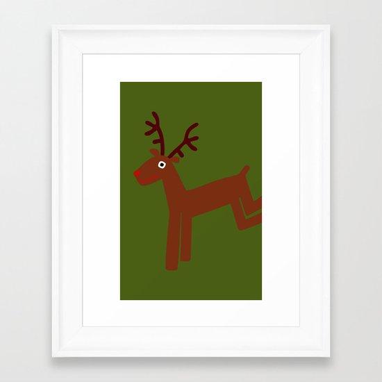 Reindeer-Green Framed Art Print