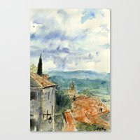 A View of Lacoste, France Canvas Print