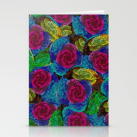 Pink Roses Stationery Card