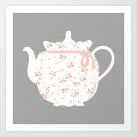 A Rosebud Tea Cozy Art Print