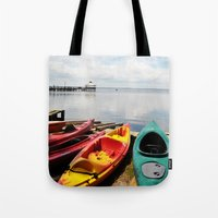 Bay Landscape With Canoe… Tote Bag