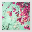 Purple leafs over mint Canvas Print