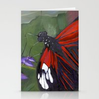 Red And Black Butterfly Stationery Cards