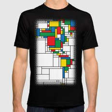 Modern World Map Mens Fitted Tee Black SMALL