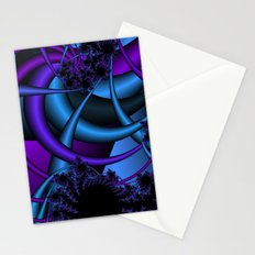 purple and blue fractal Stationery Cards