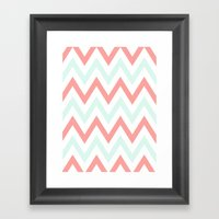Mint & Coral Chevron Framed Art Print