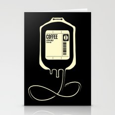 Coffee Transfusion - Black Stationery Cards