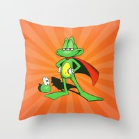 Superfrog - Digital Work Throw Pillow
