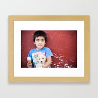 Helado y Chuchito Framed Art Print