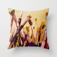 Paintbrushes Throw Pillow