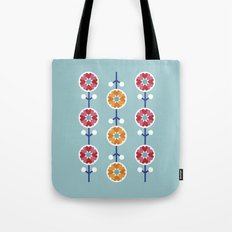 Scandinavian inspired flower pattern - blue background Tote Bag
