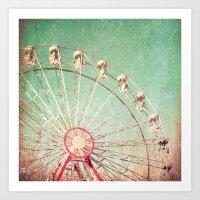 Ferris Wheel On Blue Tex… Art Print