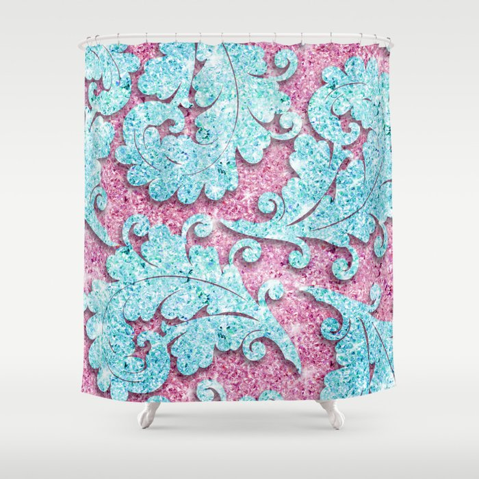 Pink Teal Glitter Girly Paisley Pattern Photo Shower