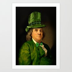 St Patrick's Day for Lucky Ben Franklin   Art Print