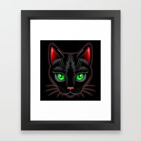Black Cat Portrait Framed Art Print