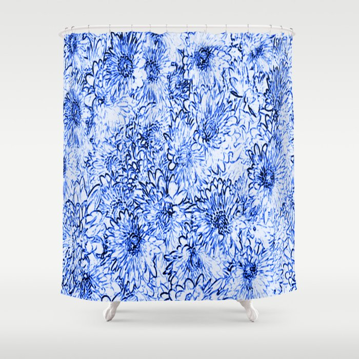 Blue Floral Sketchier Shower Curtain By Judy Palkimas Society6