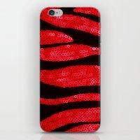 Zebra Print and Red Glitters  iPhone & iPod Skin