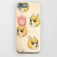 iPhone Cases featuring Corgi from hell by CarmencitaWolf