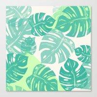 Linocut Monstera Green Canvas Print