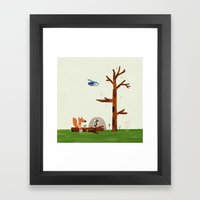 Owl Flies By Fox And Mou… Framed Art Print