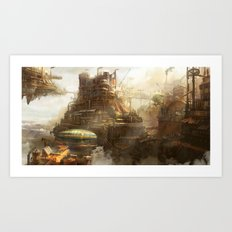 Steampunk city Art Print