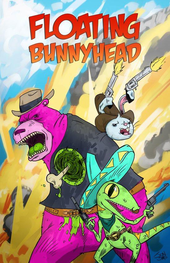 Floating BunnyHead Western Action  Art Print