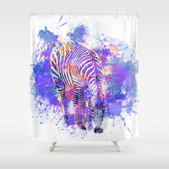 Crazy Zebra Shower Curtain by LebensART | Society6