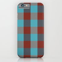 iPhone & iPod Case featuring Pixel Plaid - Cranberry Bog by Frostbeard Studio