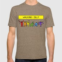 Pop Shop Silly Walks Mens Fitted Tee Tri-Coffee SMALL