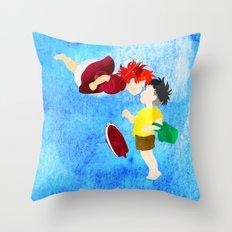 Ponyo and Sosuke Throw Pillow