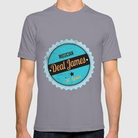 Deal James, Round Sticker Blue Mens Fitted Tee Slate SMALL