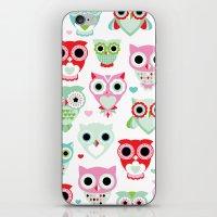 Powder pastel owl pattern print iPhone & iPod Skin