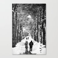 Couple on snowy street Canvas Print