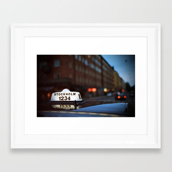 Stockholm Taxi Night Framed Art Print