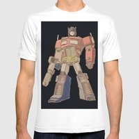 Optimus Black Mens Fitted Tee White SMALL