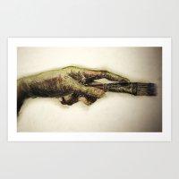 Painters Hand With Brush Art Print
