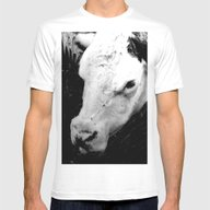 Portrait Of A Cow Mens Fitted Tee White SMALL