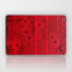 Blue stripes on grunge textured red background Laptop & iPad Skin