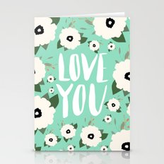Love You Floral - Turquo… Stationery Cards