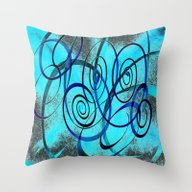 Blue Swirls Abstract Art Throw Pillow