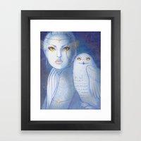 Snowy Owl Girl Framed Art Print