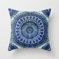 Vintage Blue Wash Mandala Throw Pillow