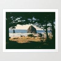Haystack Rock Through Tr… Art Print