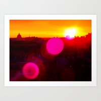 Sunset over Rome Art Print