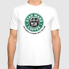 Star Wars Coffee Mens Fitted Tee White SMALL