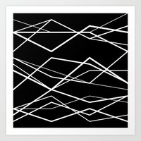 B/W geometric pattern (waves) Art Print