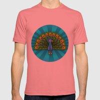 Peacock In Blue Rays Mens Fitted Tee Pomegranate SMALL