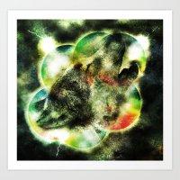 Animal - Grunge Watercolor - Wolf Art Print